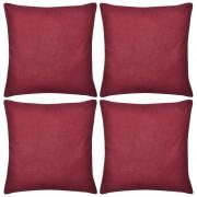 4 Burgundy Cushion Covers Cotton 80 x 80 cm