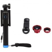 Techvik Combo of Locust Selfie Stick Monopod With 3.5MM Aux Cable + Universal 3 In 1 Clip Mobile Phone Camera Lens Kit