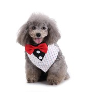 Formal Small Dog Tuxedo Bandana Collar with Bow Ties Adjustable Neckerchief for Wedding Party