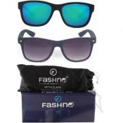 Fashno Combo of Unisex Black Frame Green and Grey Lens Wayfarer U.V Protection Sunglasses(FCMSGN37)
