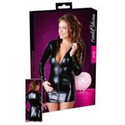 Cottelli Mini Dress Zip - dámske lesklé mini šaty s dlhým rukávom (čierne)