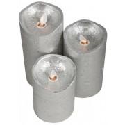 Jysk Partivarer 3 st LED blockljus -Silver - Rörlig låga - Rustik look