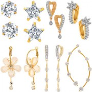 Jewels Galaxy All IN ONE Collection Combos Of Fancy American Diamond Earrings 1 Fashion Earring And 1 Earcuff- Combo Of 7