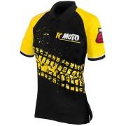 FC-Moto Corp Camisa de Polo de las señoras Negro Amarillo XL