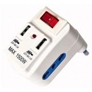 L.S.C. Isolanti Elettrici Presa Multipla 2 Prese 10a + 2 Prese Usb 2,1a Spina Da 10a