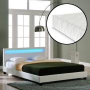 Corium® Franciaágy Paris hideghab matrac 200 x 200 cm műbőr ágykeret design ágy LED világítás fehér