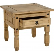 Corona 1 Drawer Lamp Table in Distressed Waxed Pine
