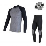 Sensor Flow voordeelset thermo shirt + lange onderbroek heren zwart-grijs