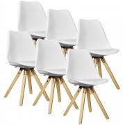 [en.casa]® Étkezőszék szett Annika 6 darab design szék fa lábakkal 85 x 48.5 cm fehér