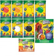 Crayola Model Magic Air-Dry Modeling Clay Bundle - Set of 7 Color Pouches, Shape N Cut Tools Set & Idea Book
