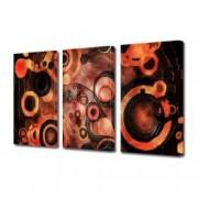 Tablou Canvas Premium Abstract Multicolor Cercuri Rosu-Negru Decoratiuni Moderne pentru Casa 3 x 70 x 100 cm