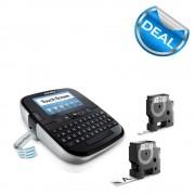 Aparat de etichetat Touch Screen DYMO LabelManager 500TS si o caseta etichete profesionale 9mmx7m negru alb S0946420 S0946450