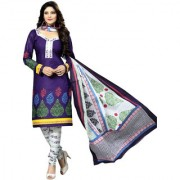 Drapes White And Purple Cotton Printed Salwar Suit Dress Material (Unstitched)