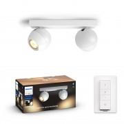 Philips HUE White Ambiance 50472/31 / P6 BUCKRAM spot 2xGU10 5.5W / 500lm 2200-6500K + SWITCH bílá Bluetooth