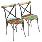 vidaXL Scaune bucătărie, 2 buc., lemn masiv reciclat, 51 x 52 x 84 cm