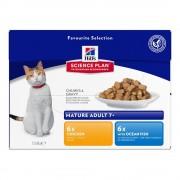 Hill's Feline Mature Adult 7+ Active Longevity 12 x 85 g - Selección de pollo y pescado de mar