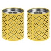 Geen 2x Gele kaarshouders met 6 citronella waxinelichtjes