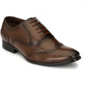 El Paso Mens Stylish Brown Synthetic Leather Alberto Taskin Formal Lace Up Shoes