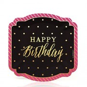 Chic Happy Birthday - Pink, Black with Gold Foil - Dessert Plates (8 count) by Big Dot of Happiness