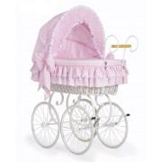 My Sweet Baby Klassieke Rieten Wieg/Kinderwagen Roze