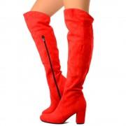 Stivali Overknee in Vero Camoscio Rosso Made in Italy T: 37, 38