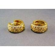 Zlaté náušnice malé kruhy s kamienkami DA658