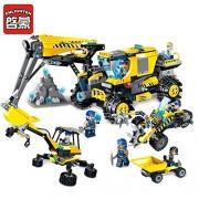 Enlighten Construction Building Block Kyanite Squad Sweeper Excavator 8 Figure 734pcs - No Original Box