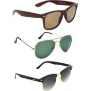 Zyaden Wayfarer, Aviator, Round Sunglasses(Brown, Green, Black)