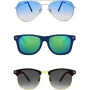 Zyaden Aviator, Wayfarer, Clubmaster Sunglasses(Blue, Multicolor, Black)