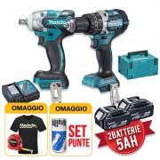 Makita DLX2250TJ1 - Kit utensili a batteria 18V, Trapano avvitatore + Avvitatore a impulsi 2 x 5Ah