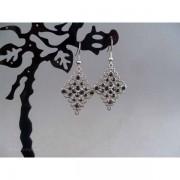 Cercei bijuterie metalici cu cristale negre