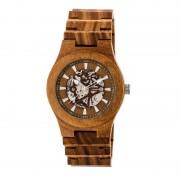 Earth Wood Gobi Automatic Skeleton Bracelet Watch - Olive ETHEW4304