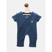 First Kick Blue Cotton Romper