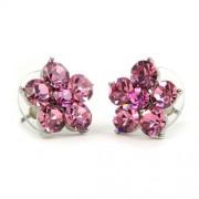 Flamo Swarovski kristályos virágos fülbevaló - Pink