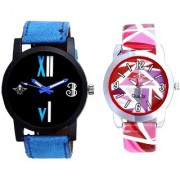 Fancy Number Black Dial And Multi Pink Art Couple Analogue Watch By Ganesha Exim