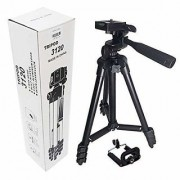 3120 Portable and Foldable Camera-Tripod with Mobile Clip Holder Bracket 4 Section Adjustable Travel Tripod (Black)