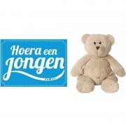 Happy Horse bruine beren knuffels + geboortekaartje Hoera een jongen blauw