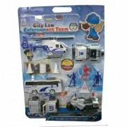SHRIBOSSJI Combat Game Toys City Law Enforcement Team Model Action Figure Bike Bus Helicopter etc. for kids/children.