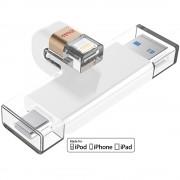Stick USB 16GB U010 3 in 1, MFI, USB-C, USB 3.0 Alb iDISKK