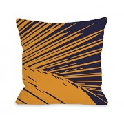 One Bella Casa OBC Bentin Home Decor Alaiya Almohada con diseño de Hojas de Palma, Alaiya Palm Leave Navy Orange, 18x 25mm Pillow, 1