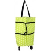 Three Secondz Protable Shopping Trolley Bag with Wheels Foldable Cart Rolling Grocery 2 in 1 ~ Multi Color(Green)