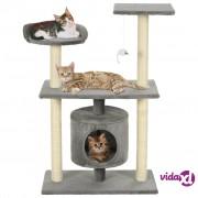 vidaXL Penjalica za mačke sa stupovima za grebanje od sisala 95 cm siva