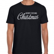 Bellatio Decorations Fout kerstshirt Merry Fucking Christmas zilver glitter zwart her S (48) - kerst t-shirts