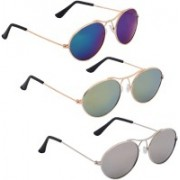 Phenomenal Oval Sunglasses(Blue, Green, Silver)