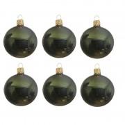 Decoris 6x Donkergroene glazen kerstballen 6 cm glans