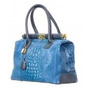 CHIARO SCURO Borsa donna in vera pelle CHIARO SCURO mod. LEONA, colore BLU, Made in Italy.