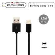 CAVO USB A USB LIGHTNING APPLE 1,5 METRI NERO VT-5552-LED8452