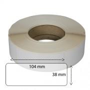 Etiketter på rulle, självhäftande, högblanka för bläck, 38*104mm på 40 mm bärbana, 1000 st