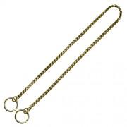 KH Hundhalsband strypkedja, sicksack länkar, guldpläterad mässing, 2.0mm x 45cm