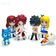 SAMANIS 6pcs/Set 6 cm Anime Fairy Tail Natsu / Gray / Lucy / Erza Action Figure Toy Set
